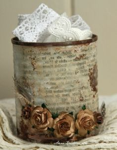"Altered tin can by ""mae:""  love this!  Thought maybe we could use Christmas theme? I have a few more cans to save - fear I tossed some I had been keeping..."
