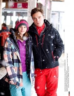 Ed Westwick & Felicity Jones in Chalet Girl Chalet Girl, Red Leather, Leather Jacket, Ed Westwick, Felicity Jones, Chuck Bass, Gossip Girl, Snowboarding, Rain Jacket