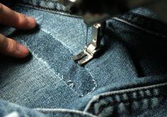 Repair a hole in jeans Holey Jeans, Patched Jeans, How To Patch Jeans, Quilt Corners, Tailoring Jeans, Carhartt Jeans, Sewing Jeans, Bra Hacks, Visible Mending