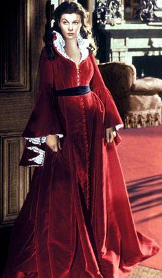 Walter Plunkett - Costumes - Robe d'Intérieur Bordeaux et Dentelle - Vivien Leigh - Autant en emporte le Vent - 1939