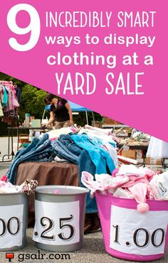 Sale tips.Not sure how to display clothing at a yard sale? No worries, we've got several ideas for you. Figuring out the best way to display yard sale items can be a bit of a struggle for most yard sale hosts,… Yard Sale Signs, Garage Sale Signs, For Sale Sign, Garage Sale Organization, Organizing, Organization Ideas, Clothing Organization, Garage Sale Pricing, Clothing Displays