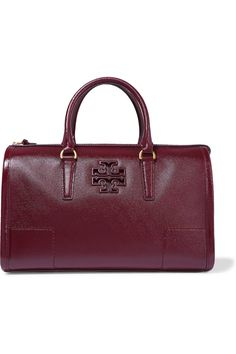 TORY BURCH Britten patent textured-leather tote. #toryburch #bags #patent #hand bags #tote #