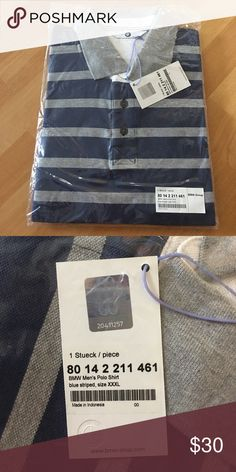 BMW Men's Polo Shirt Brand new men's polo. Blue with grey stripes. Still in plastic packaging BMW Shirts Polos