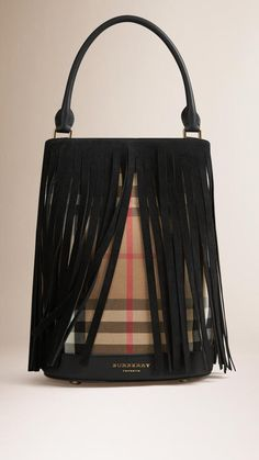 5fe000de63d6 Burberry The Bucket Bag In House Check And Fringing Burberry Bucket Bag