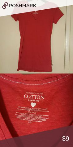 Victoria Secret Cotton vneck short sleeve t-shirt Sheer red VS cotton lingerie red top, size S Victoria's Secret Tops Tees - Short Sleeve