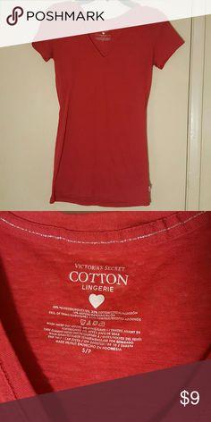 Victoria Secret Cotton vneck short sleeve t-shirt Sheer red VS cotton lingerie red top, size S Victoria's Secret Tops Tees - Short Sleeve