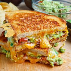 Bacon Guacamole Grilled Cheese Sandwich - Made these and it was delish! I have to have a gourmet grilled cheese sandwich party one of these days! Think Food, I Love Food, Good Food, Yummy Food, Tasty, Healthy Food, Healthy Eating, Healthy Recipes, Vegan Food