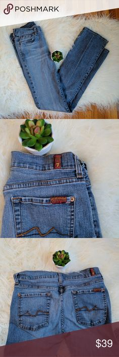 7 for all mankind bootcut jeans Gently pre worn jeans, good condition. Mild softening of denim in the seat. No stains tears or holes.  Measurements: Flat across waist 14 inches Front rise 8 inches Zipper 4 inches Inseam 32 inches 7 For All Mankind Jeans Boot Cut