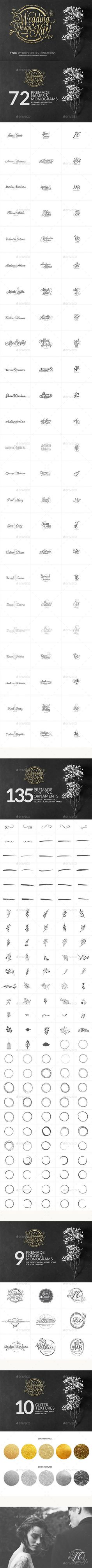 Wedding Design Logo Kit Template PSD, AI Illustrator. Download here…:
