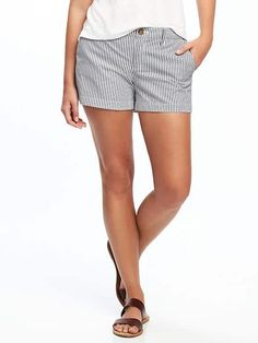 """Old Navy Mid-Rise Patterned Everyday Shorts for Women (3 1/2"""") in Railroad Stripe. Very cute with white off the shoulder top."""
