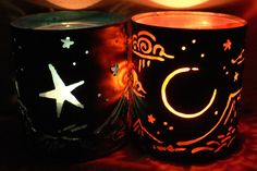 Moon & Star  candle holder  Recycled tin can by SantaFeMoonLights, $25.00