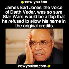 "Not true. He didn't want credit because he wanted the credit to go to David Prowse, who did all the rest of the acting. Jones didn't take a credit until ROTJ because that was ""Vader's Swan Song"". The More You Know, Good To Know, Did You Know, Star Wars Jokes, Star Wars Facts, Weird Facts, Fun Facts, Fascinating Facts, Random Facts"