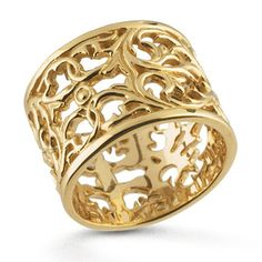 14K Yellow Gold Filigree Band Ring 14.5mm Wide by OnTargetJewelry