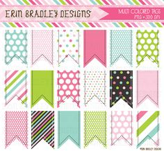 Erin Bradley Designs: NEW! Colorful Tags, Bunting, Digital Papers & More