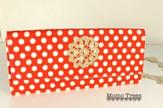 Handmade Women's Fabric Handbag, Clutch, Purse, Evening Bag, Feminine, Vintage Upcycled Lace, Red, White, Polka Dots by MomoTrees on Etsy. $46.00, via Etsy.