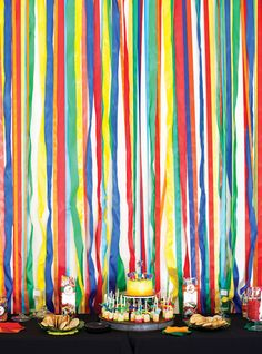 Rainbow streamers backdrop