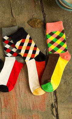 Men  Colorful Cotton Crew Happy Socks