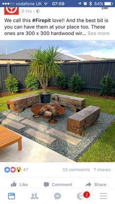 Backyard Fire Pit Area Fence 46 Ideas For 2019 Backyard Seating, Backyard Patio Designs, Small Backyard Landscaping, Fire Pit Backyard, Garden Seating, Landscaping Ideas, Deck With Fire Pit, Outdoor Fire Pits, Outside Fire Pits
