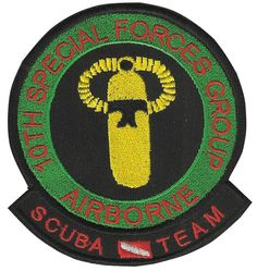 Special Forces Pocket Patch 10th SFG(A) SCUBA TEAM 1960's - 1970's