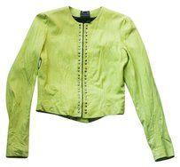 Grai Leather Peplum Studded Embellished Bright Lime Green Leather Jacket