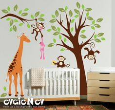 Love this for the boys' room! Wall Decals For Baby Nursery  Tree with Monkeys and by evgieNev, $149.00 baby-stuff