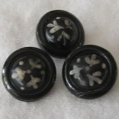 Set of 3 VINTAGE White Painted Flower Black Glass BUTTONS