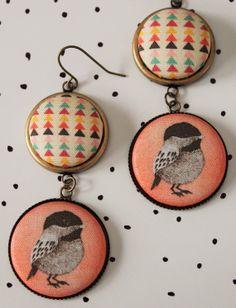Geometric Birdie Fabric Button Earrings Bronze Drop by PicnicWoods, $10.00