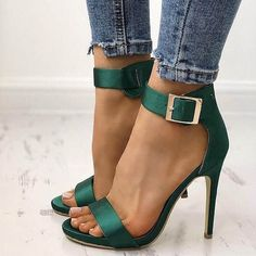 Green Open Toe Line-Style Buckle Heel Sandals>> Heel Height:10cm; Heel Type:Stiletto Heel; Platform Height:1.5cm
