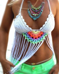 Crochet, Fringe, Mandala, Crop top.....what else needs to be said? Gorgeous addition to your summer wardrobe. Hand made using cotton yarn, this crop top is easy to care for and comfy to wear. Colors c