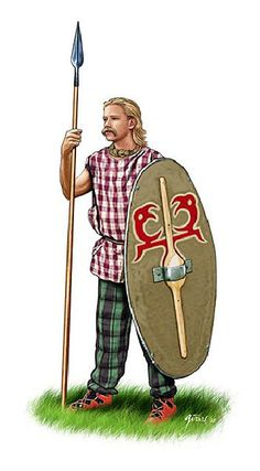 Celtic spear-man showing the standard equipment of the non warrior class. The Celts that took the field for their king or Queen would have been armed in this manner with the sword being the principal weapon after the spear had been used.