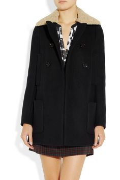 Maje Stylo shearling-collared wool and cashmere-blend coat NET-A-PORTER.COM