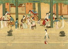 Ladies having a music and dance party Spring arrives in royal palace, meticulous ink painting by Ming Dynasty artist Qiu Ying - China Art, Chinese Culture, Chinese Painting, Ink Painting, Artist Names, Traditional Outfits, Asia, Japanese, History