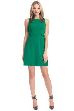 New Green Italian Ponte Angela Tab Waist Dress