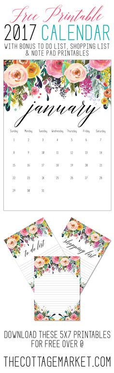 FREE PRINTABLE 2017 CALENDAR with a beautiful floral design plus bonus To Do List...Notes and Shopping List... ALL FREE!