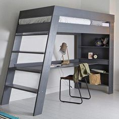 Woood Furniture - Easy to Assemble Luxury Furniture - Ultra stylish and contemporary, the Julien Kids Loft Bed with Desk in Grey is a great piece of furn - Loft Bed Desk, Bunk Bed With Desk, Bunk Beds With Stairs, Cool Bunk Beds, Bedroom Loft, Diy Bedroom, Bedroom Apartment, Bedroom Kids, Bedroom Shelves