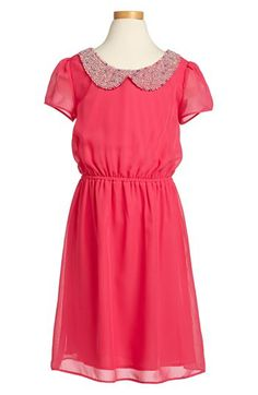Soprano Beaded Collar Chiffon Dress (Big Girls) available at #Nordstrom--this would b cute on Bella with a little bun :)