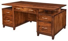 Amish Executive Desk An impressive and new contemporary look for an executive desk. The Integra delivers with a fresh new shape and strong solid wood.