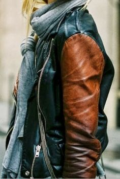 Double Tone Leather Jacket With Scarf