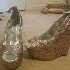 Super sparkly wedges Given as a gift. Never worn. Super sassy! Shoes Wedges