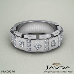 9.5mm Mens Princess Cut Diamond Half Wedding Band 14k White Gold Solid Ring 1Ct