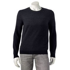 Marc Anthony Mens Ombre Sweater Dark Gray and Black Long Sleeve #MarcAnthony #Crewneck
