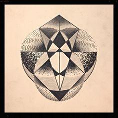 Sacred geometry, dotwork black and grey geometric tattoo sketch.
