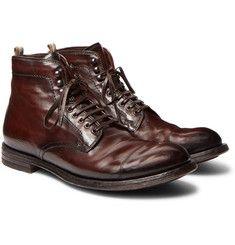 Officine Creative - Anatomia Cap-Toe Boots pelle invecchiata