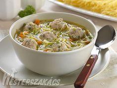 Alföldi húsgombócleves cérnametélttel Japchae, Chicken, Meat, Ethnic Recipes, Food, Essen, Meals, Yemek, Eten