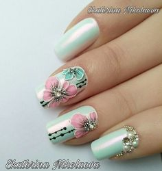 Get floral nail art and you're set to go. The patterns of floral nails art have gotten so intricate that it almost appears effortless. Acrylic Nail Designs Glitter, Diy Nail Designs, Short Nail Designs, Acrylic Nails, Stylish Nails, Trendy Nails, Cute Nails, Floral Nail Art, Pretty Nail Colors