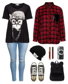 """""""Plus size- hipster cats meow"""" by eden-anarchy on Polyvore featuring H&M, Yoek, Eloquii, Converse, Vans and Casetify"""