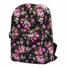 2017 Vintage Retro Rose Floral Printing Backpack Women's Canvas Travel Backpack for Teenage Girls Rucksack mochila feminina Canvas Backpack, Travel Backpack, Girls Rucksack, School Backpacks, Vera Bradley Backpack, Luggage Bags, Retro Vintage, Floral Prints, Canvas Prints
