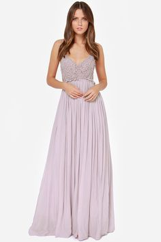 I am so madly in love with this!   Blooming Prairie Crocheted Dusty Lavender Maxi Dress at LuLus.com!