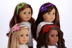 Amazon.com: Headband Set - 4 headbands - white and pink butterfly, purple and blue butterfly, red flower, green flower - 18 inch doll clothes: Toys & Games
