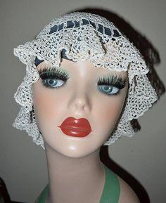 Charming Vintage 1920's Crochet Boudoir Cap Hat